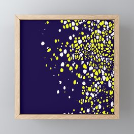 Tiny Bubbles in Navy Blue with White and Yellow Framed Mini Art Print