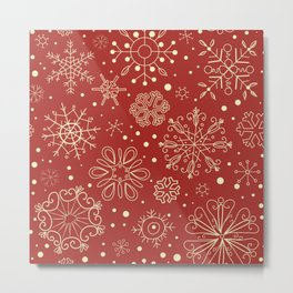 Abstract Red Beige Christmas Snowflakes Metal Print