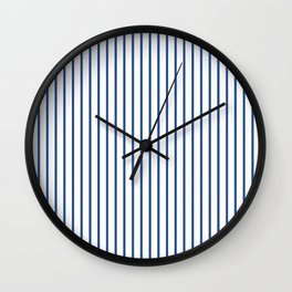 Delphinium Blue Pinstripe on White Wall Clock