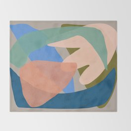 Shapes and Layers no.30 - Large Organic Shapes Blue Pink Green Gray Throw Blanket
