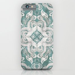 Teal and grey dirty denim textured boho pattern iPhone Case