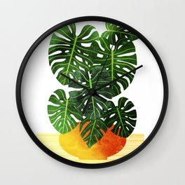 Monstera Swiss Cheese Plant In Mid Century Pot Wall Clock