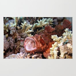 Red Scorpian Fish With Mouth Open Rug