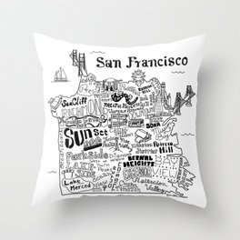 San Francisco Map Illustration Throw Pillow