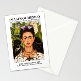 """Frida Kahlo Exhibition Art Poster - """"Self-Portrait with Thorn Necklace and Hummingbird"""" 1988 Stationery Cards"""