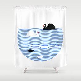 Black Swan White Swan Shower Curtain