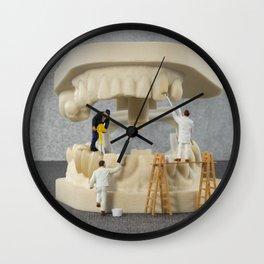 little people brushing teeth Wall Clock