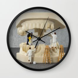 little people brushing teeth Wall Clock