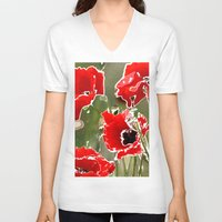 poppies V-neck T-shirts featuring Poppies by Regan's World