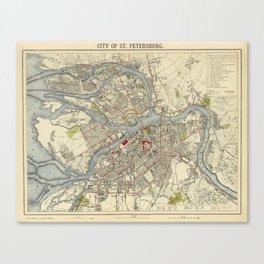 Map of St. Petersburg 1883 Canvas Print