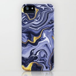 Indigo and Gold Melted Marble iPhone Case