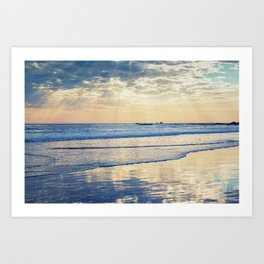 A Message From Above God Rays on Cayucos Beach Art Print