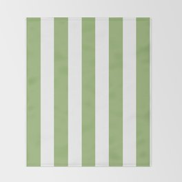 Olivine green - solid color - white vertical lines pattern Throw Blanket