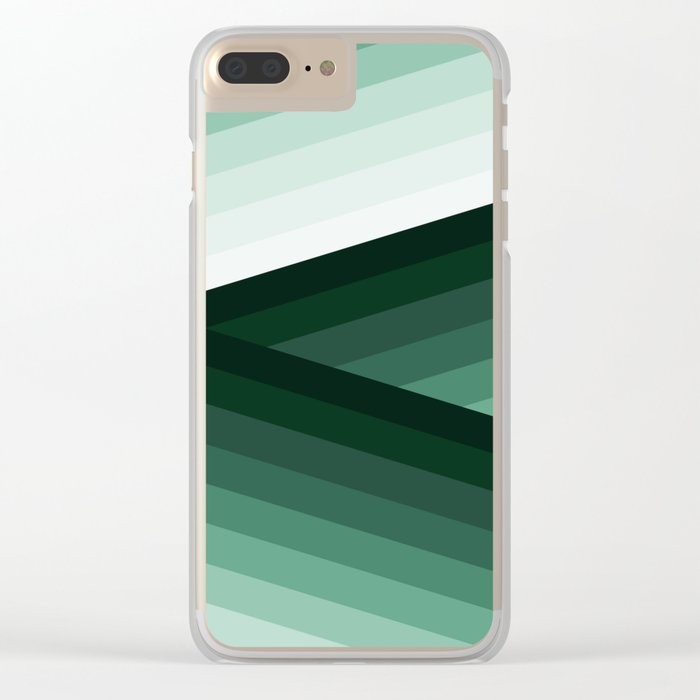 Serene Contemporary Green Ombre Design Clear iPhone Case