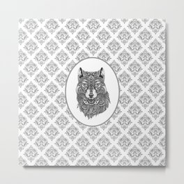 Gray & White Damasks Featuring Wolf Head Metal Print