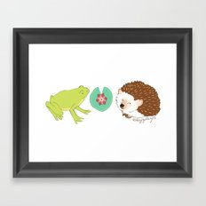 Hedgehog and Frog Framed Art Print