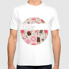 desserts! MEDIUM Mens Fitted Tee White