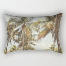 Palm Trees, Miami Beach, Dreamy Wall Art, Palm Leaves, Vintage Palm Tree Print Rectangular Pillow