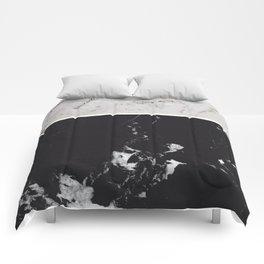 White Glitter Marble & Black Marble #1 #decor #art #society6 Comforters
