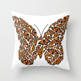 Monarch Butterfly made up from Monarch Butterlies Throw Pillow