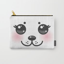 Kawaii funny albino animal white muzzle with pink cheeks and big black eyes Carry-All Pouch