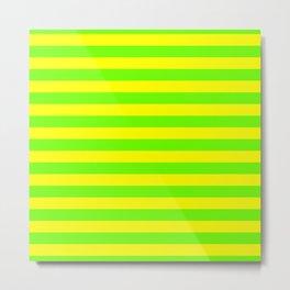 Super Bright Neon Yellow and Green Horizontal Beach Hut Stripes Metal Print