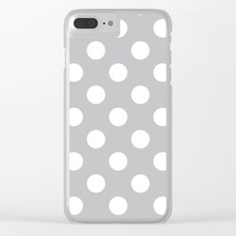 Silver sand - grey - White Polka Dots - Pois Pattern Clear iPhone Case