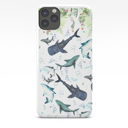 floral shark pattern iPhone Case
