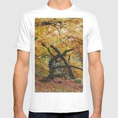 Autumnal woodland. Padley Gorge, Derbyshire, UK. White MEDIUM Mens Fitted Tee