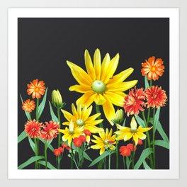 Bright At Midnight Floral Art Print