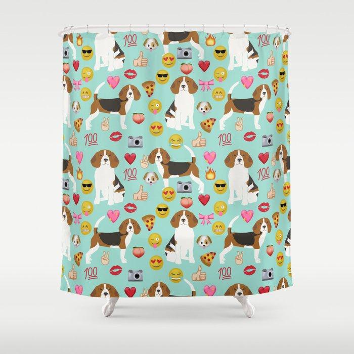 Beagle Emoji Funny Dog Gifts Emojis Shower Curtain By Beaglemania