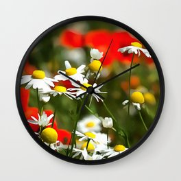 In A Field of Poppies Be A Daisy Wall Clock