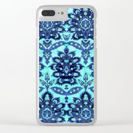 Floral Fabric Vintage Gift Pattern Blue Clear iPhone Case
