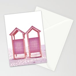 Beach changing rooms Stationery Cards