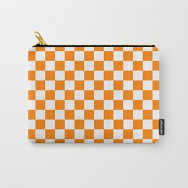 Small Checkered - White and Orange Carry-All Pouch