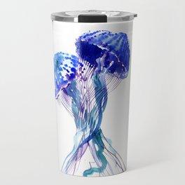 Jellyfish, Aqua Blue Marine Beach Art Travel Mug