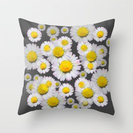 CHARCOAL GREY GARDEN OF SHASTA DAISY FLOWERS Throw Pillow