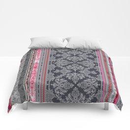 Burgundy, Pink, Navy & Grey Vintage Bohemian Wallpaper Comforters