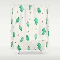 cactus Shower Curtains featuring CACTUS by Ceren Aksu Dikenci