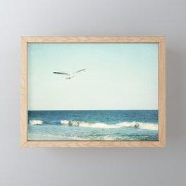 Seagull Bird Ocean Photography, Seagulls Beach Coastal, Aqua Blue Seascape Sea Framed Mini Art Print