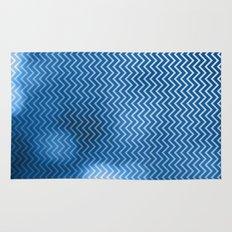 Snorkel blue chevron pattern with bokeh texture Rug