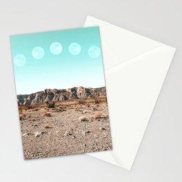 Desert Daylight Moon Ridge // Summer Lunar Landscape Teal Sky Red Rock Canyon Rock Climbing Photo Stationery Cards