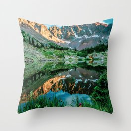 Sun Ridge Lake Reflection // Incredible Backpacking Trip Wild Flowers and Natural Beauty Throw Pillow