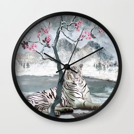 White Tiger And Plum Tree Wall Clock