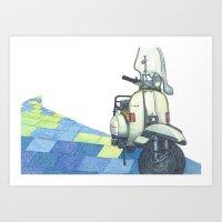 vespa Art Prints featuring vespa by Miyuki Sakurai