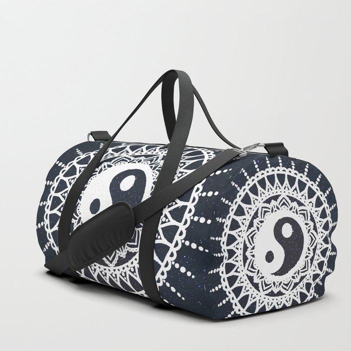 Yin Yang Mandala / White Mandala over stars Duffle Bag