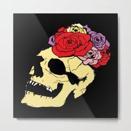 skull with broken teeth in black Metal Print