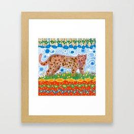 Leopard in the grass Framed Art Print
