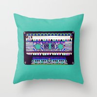 tape Throw Pillows featuring Mix Tape # 10 by Bianca Green