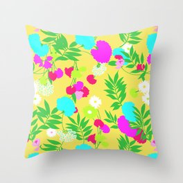 Vintage Mod Forest Floral in Lemon Throw Pillow